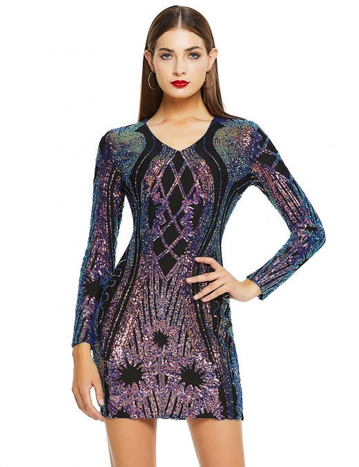 Vintage Black V Neck Sequins Long Sleeves Bandage Dress For Playing