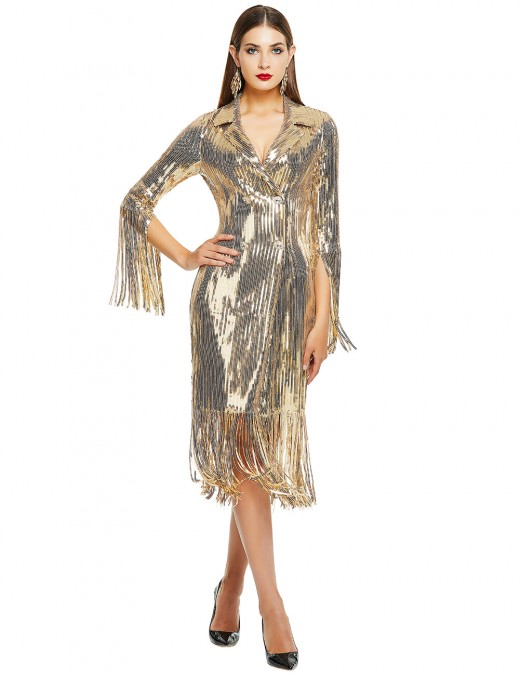 Smooth Gold Fringe Suit Collar Bandage Dress Sequins Regular Fit