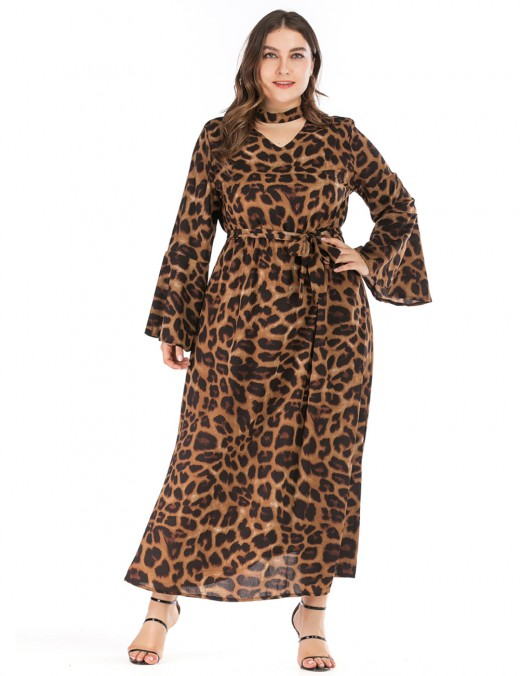 Sassy Large Size Dress Leopoard Print Bell Sleeve Superior Quality