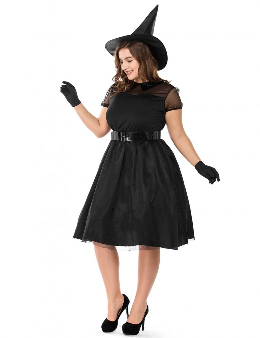 Black Plus Size Tie Wiast Witch Costume Short Sleeve On-Trend Fashion