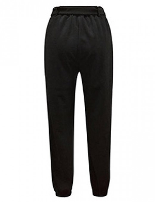 Comfortable Black Square Buckle Skinny Pants Ankle Length Female Grace