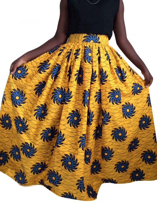 Cozy Elastic Waist African Floral Printed Maxi Skirt Comfort Women