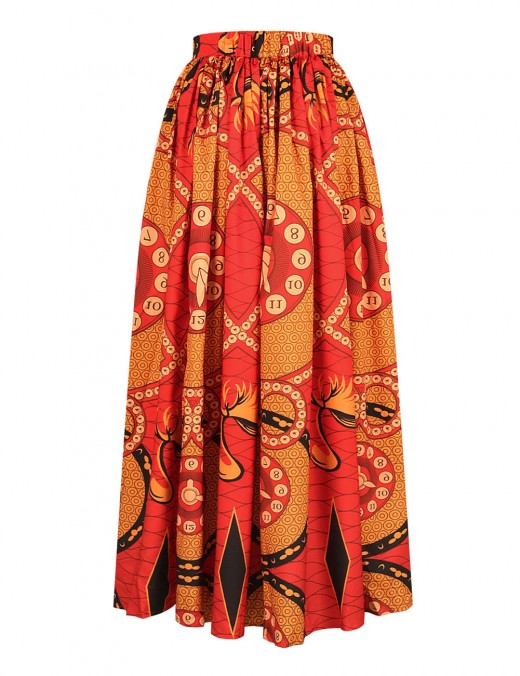 African Pattern Elastic Skirt Two-Pieces Suit