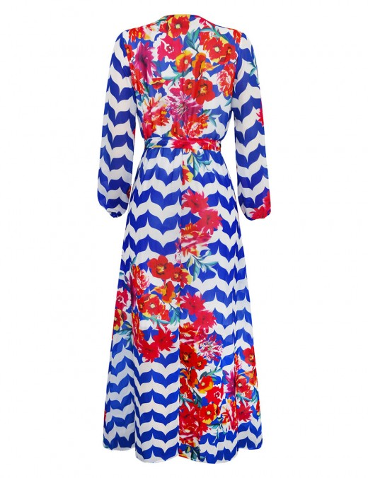 Hot Selling Queen Size African Chiffon Maxi Dress