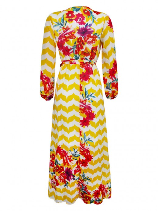 Plus Size Chiffon Maxi Dress Long Sleeve