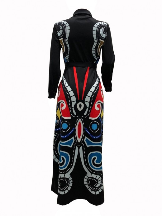 Particularly Black Large Size Butterfly Print Maxi Dress For Beauty