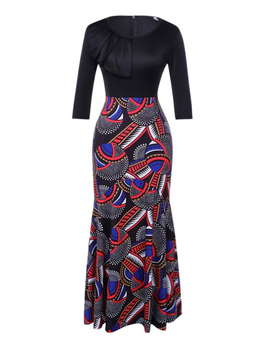 Vibrant Patchwork Maxi Dress Zipper Crew Neck Evening Romance