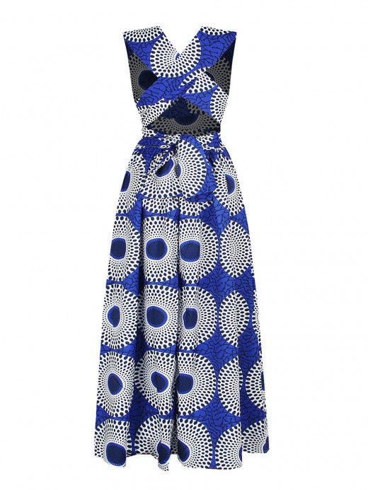 Smooth National Pattern Swing Hem Maxi Dress Distinctive Look