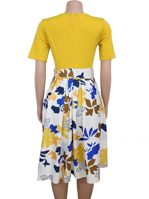 Fresh Yellow Zipper At Back Plus Size Midi Dress Leisure Wear