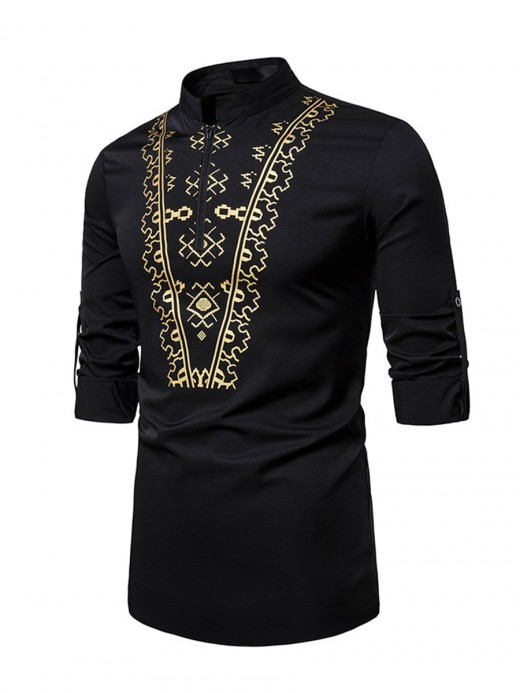 Favorite Black Male Gold Stamping Long Sleeves Top Super Comfort
