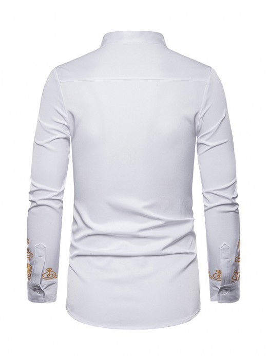 Gorgeous White African Style Standing Collar Shirt All-Match Style