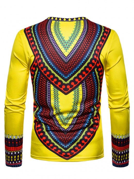 Yellow Round Neck Male Shirt African Pattern For Camping