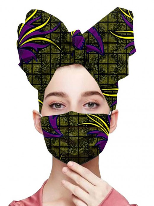 Simply Chic Cotton Plaid Paint Headscarf Slender Loop Mask Natural Women