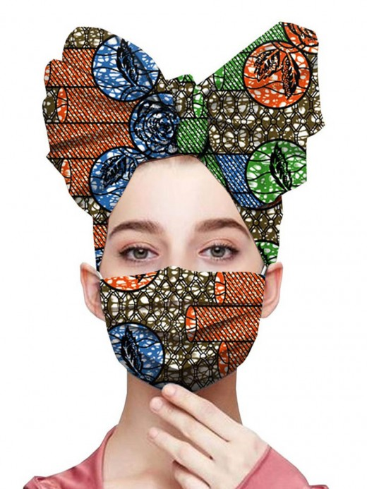 Sweety Patchwork African Paint Headscarf Elastic Mask Charming Fashion