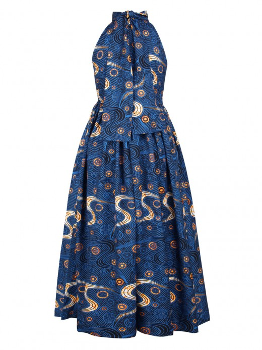 Dreamy Blue Elastic Waist Maxi Dress Floor-Length Slim