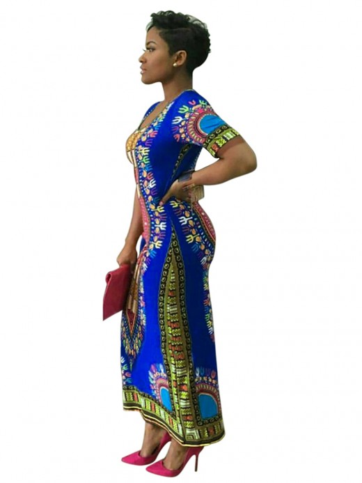 Delicate Blue Round Collar Exotic Pattern Maxi Dress Smooth