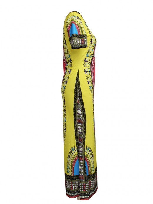 Snazzy Yellow Maxi Dress Short Sleeve African Print Stretch