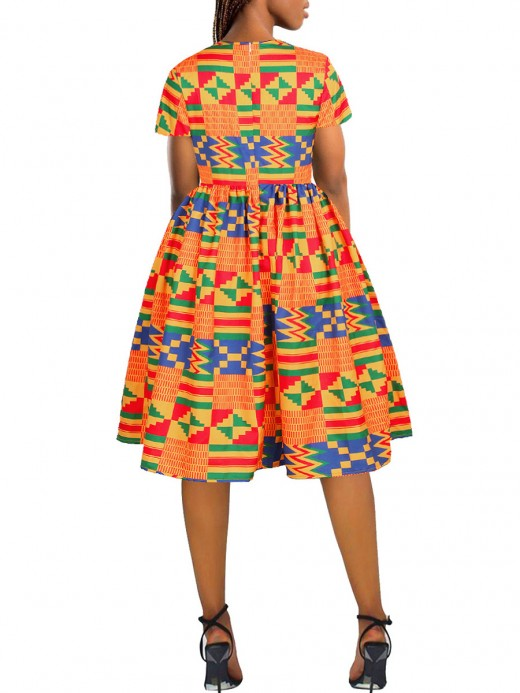 Enthusiastic Orange Short Sleeve Round Collar African Dress