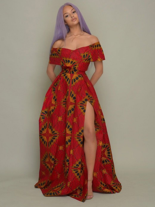 Natural Red Maxi Dress African Paint Off Shoulder Ladies Elegance
