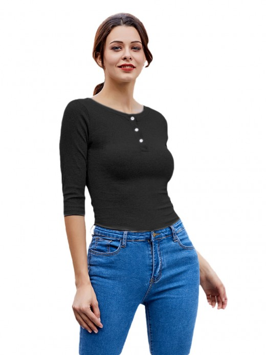 Cozy Black Round Collar Bodysuit Half Sleeves Latest Fashion