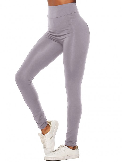 Unvarnished Gray High Waist Full Length Letter Leggings Stretchy