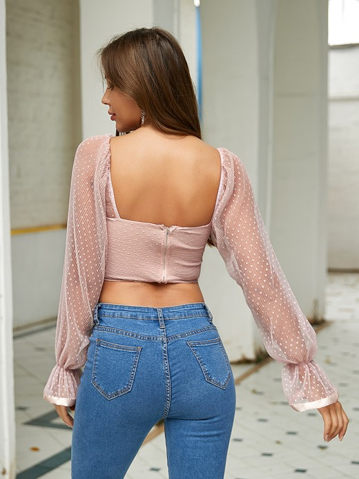 Special Pink Dot Printed Crop Top Zipper At Back Comfortable
