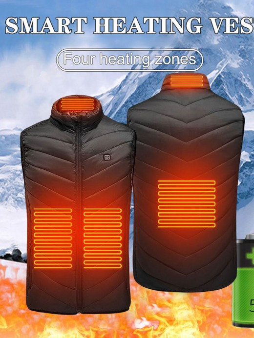 USB Charging Black Heating Vest Three-Speed Control Trendy Clothes