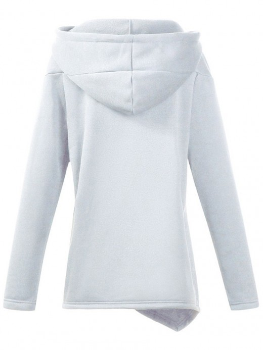 Entrancing White Zipper Asymmetric Hem Hoodie Top Female Charm