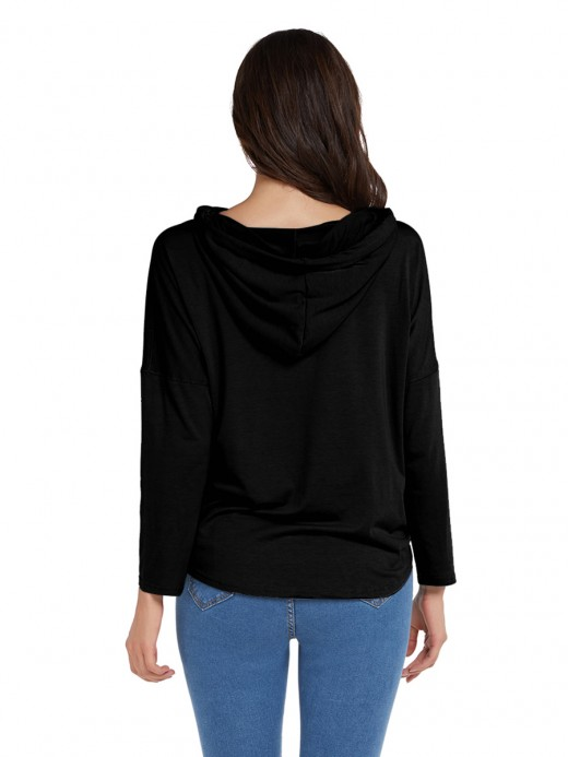 Minimalist Black Sweatshirt Solid Color Letter Print Vacation Time