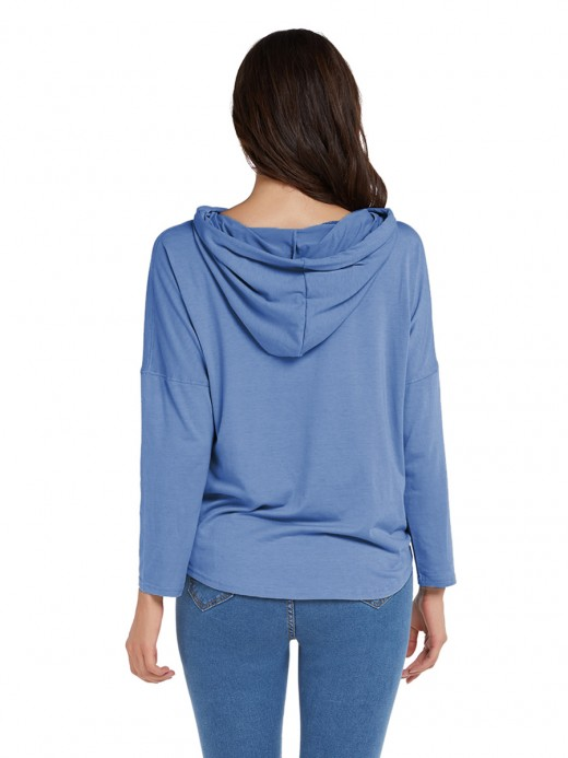 Professional Blue Hooded Top Full Sleeve Drawstring For Upscale
