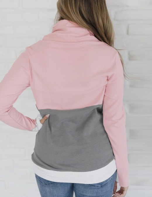 Pink Drawstring Sweatshirt Full Sleeve Patchwork Women's Fashion