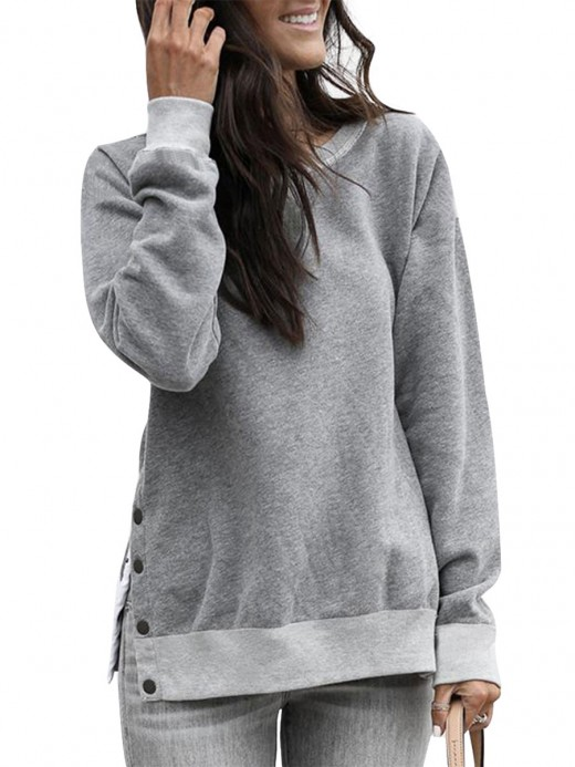 Abstract Gray Button Detail Sweatshirt Long Sleeve Unique Fashion
