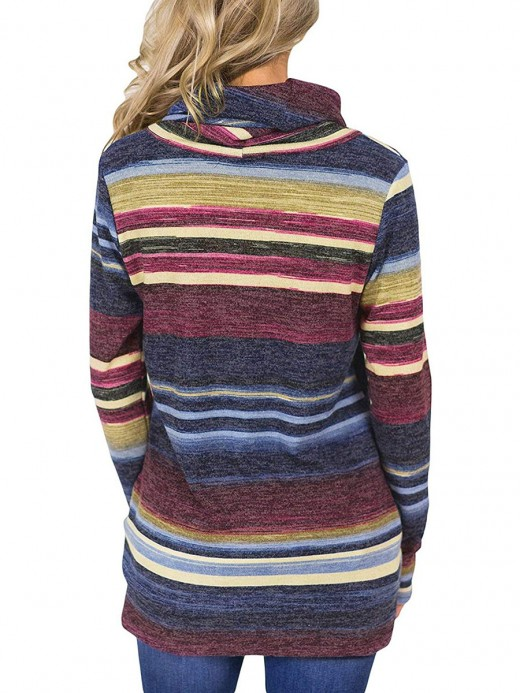 Fascinating Red Stacked Collar Stripe Pullover Sweatshirt Womens Apparel