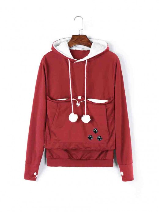 Interesting Red Full Sleeve Drawstring Hoodie Top Women's Fashion Tops