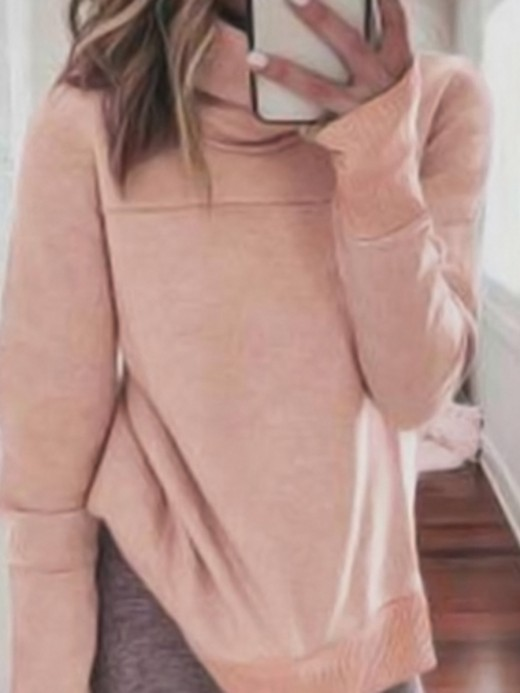 Form-Fitting Pink High Neck Rib Cuff Loose Sweatshirt Womenswear