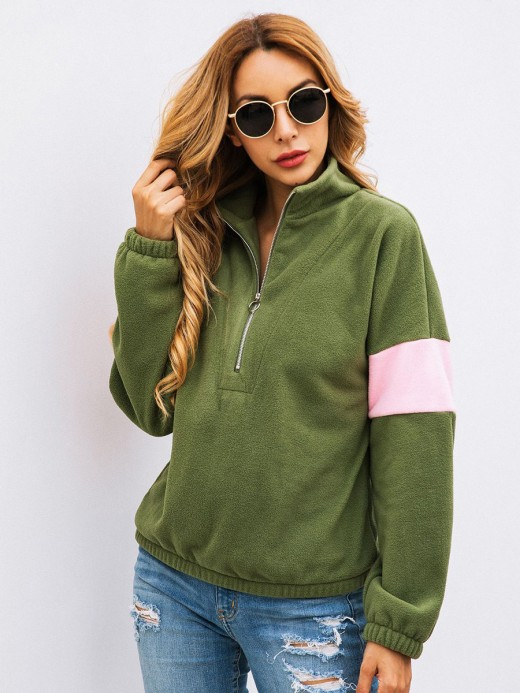 Exquisite Army Green Sweatshirt Full Sleeve Turndown Collar Elastic Material