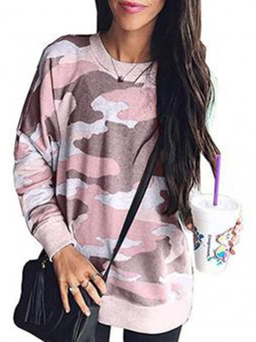 Endearing Full Sleeve Camouflage Print Top Girls Fashion