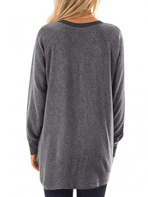 Sweet Gray Sweatshirt Pocket Long Sleeve Patchwork For Running