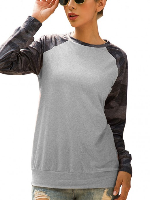 Young Girl Gray Camouflage Full Sleeve Sweatshirt Women's Essentials