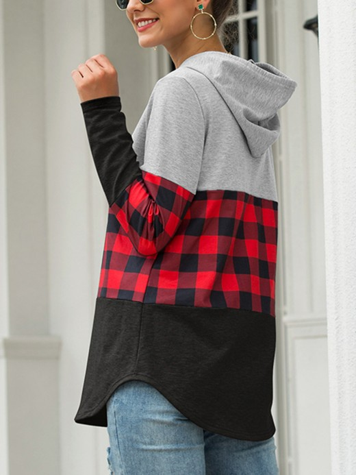 Voluptuous Plaid Patchwork Drawstring Shirt Modern Fashion