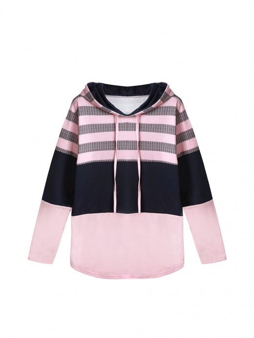 Simplicity Pink Sweatshirt Full Sleeve Drawstring High Quality