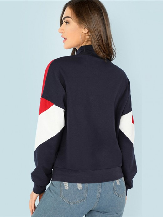 Seaside Colorblock High Collar Sweatshirt Elastic Material