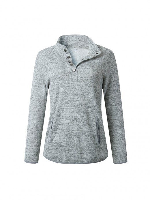 Gray Sweatshirt Front Pockets Metal Button Casual Women Clothes