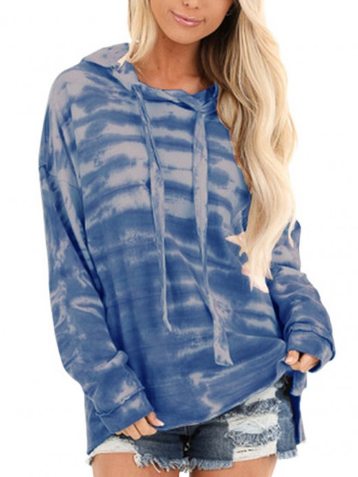 Fiercely Blue Tie-Dyed Sweatshirt Hip-Length Comfort