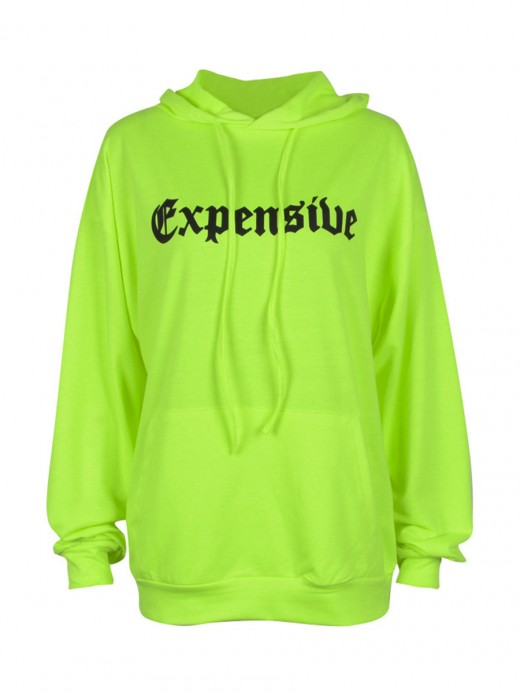 Fancinating Green Oversize Letter Hoodie Long Sleeves For Ladies