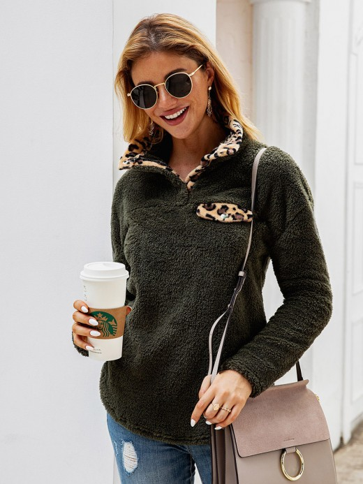 Characteristic Blackish Green Button Plush Long-Sleeved Sweatshirt