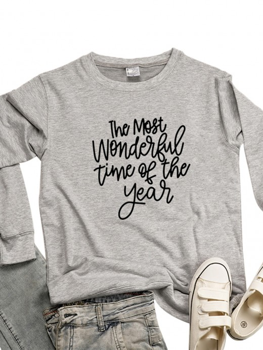 Catching Gray Letter Pattern Sweatshirt Queen Size Super Faddish