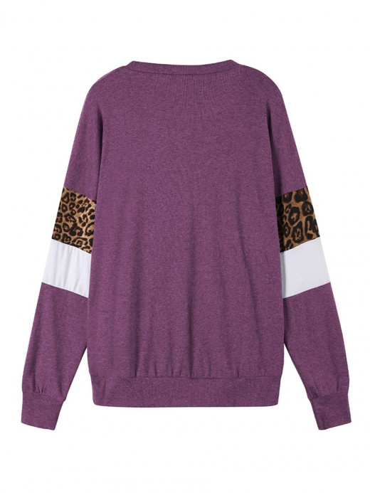 Sexy Ladies Purple Letter Paint Long Sleeve Sweatshirt Leisure