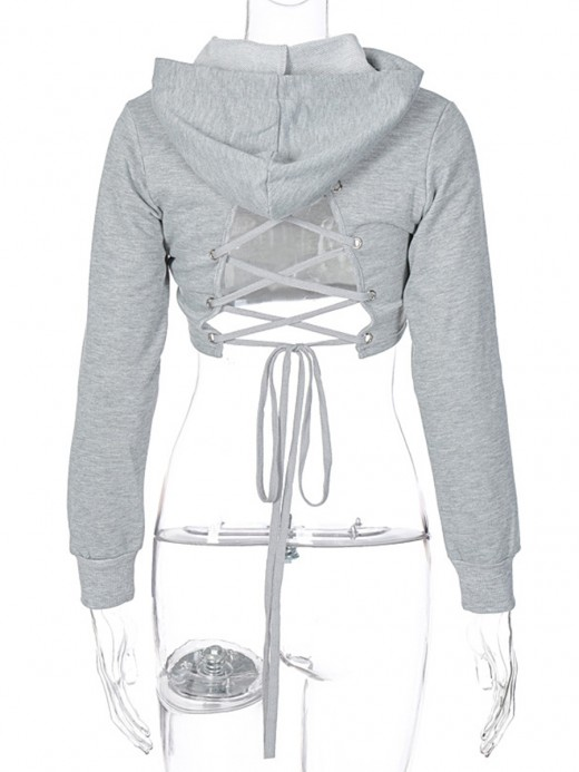 Gray Drawstring Back Cropped Hoodie Cutout Casual Fashion