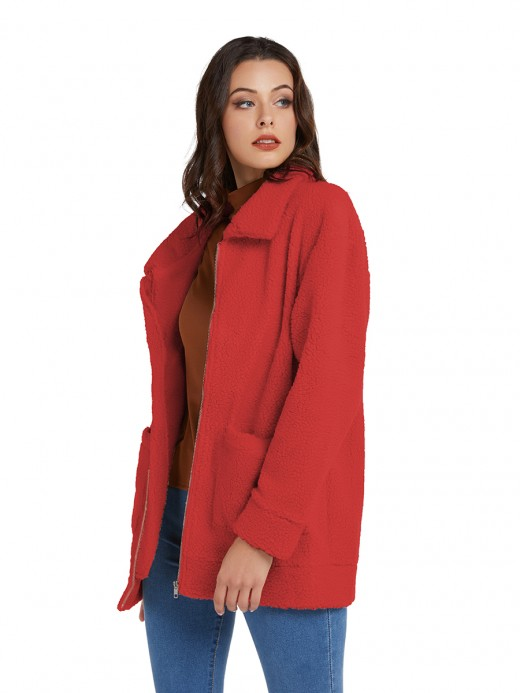 Sweetheart Red Turndown Collar Coat Long Sleeve Fashion Design